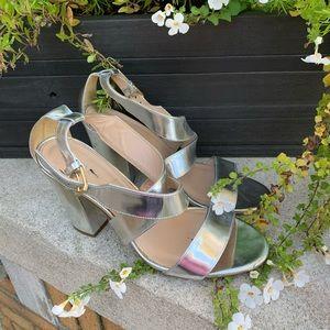 J. Crew Silver Sandals Heels